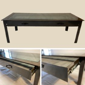 Bronze Display table with sliding drawer
